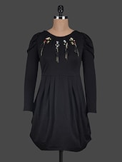 Round Neck Stone Work Polyester Dress - Glam And Luxe