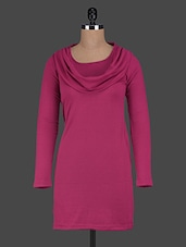 Cowl Neck Long Sleeves Plain Viscose Drees - Glam And Luxe