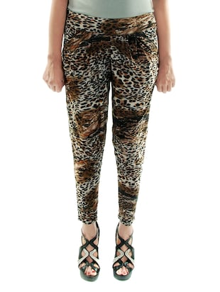 brown animal print polyester jegging