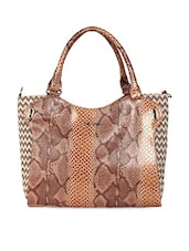 Brown Textured Faux Leather Tote - KIARA