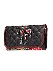 Black Printed Faux Leather Wallet - KIARA