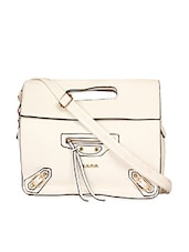 White Leatherette Sling Bag - KIARA
