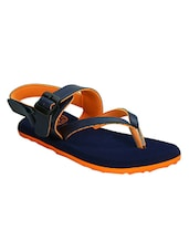 navy blue and orange faux leather floaters -  online shopping for Floaters