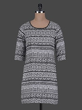 Monochrome Aztec Printed Polycrepe Dress - ABITI BELLA