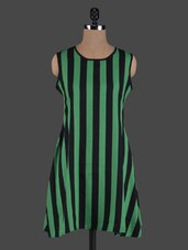 Stripes Printed Round Neck Polycrepe Dress - ABITI BELLA