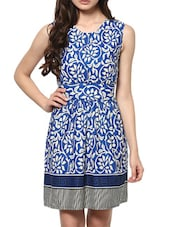Printed Sleeveless Round Neck Cotton Dress - ABITI BELLA