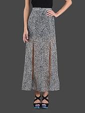 Front Slit Monochrome Georgette Skirt - ABITI BELLA