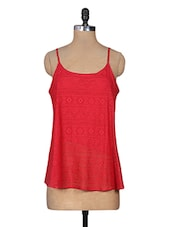 Red Trimmed Lace Cotton Net Top - URBAN RELIGION
