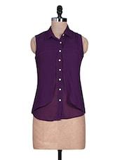 Purple Plain Georgette Top - URBAN RELIGION