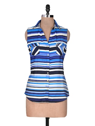 Blue stripes printed polyester top