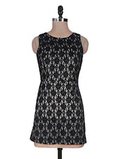 Black Plain Cotton Laces Dress - URBAN RELIGION