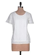 White Plain Cut Worked Cotton Top - URBAN RELIGION