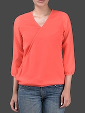 Plain Three Quarter Sleeves Polygeorgette Top - Harpa