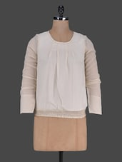 Plain Long Sleeves Polygeorgette Top - Harpa