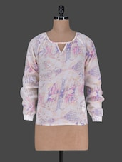 Printed Round Neck Long Sleeves Polycrepe Top - Harpa