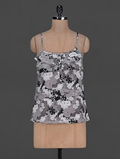 Floral Printed Sleeveless Polycrepe Top - Harpa
