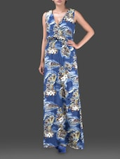 Floral Printed Sleeveless Rayon Maxi Dress - Harpa