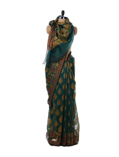 Turquoise Blue And Maroon Saree - Bunkar