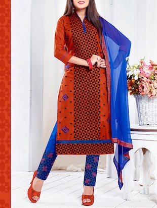 orange embroidered cotton unstitched suit set
