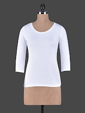 Three Quarter Sleeves Plain Cotton Knit Tee - Fashionexpo