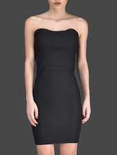 Black Plain Sleeveless Polyester Lycra Back Bow Dress - Fashionexpo