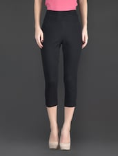 Black Plain Cotton And Lycra Ankle Length Leggings - Fashionexpo