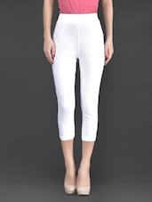 White Plain Cotton And Lycra Ankle Length Leggings - Fashionexpo
