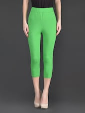 Green Plain Cotton And Lycra Ankle Length Leggings - Fashionexpo
