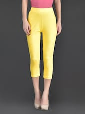 Yellow Plain Cotton And Lycra Ankle Length Leggings - Fashionexpo