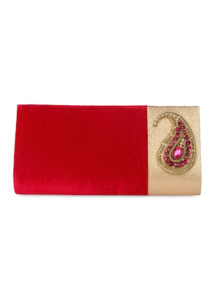 paisley brooch red velvet clutch