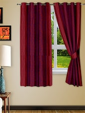 Red Polyester Two Piece Window Curtain - Story @ Home