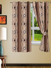 Brown Polyester Two Piece Window Curtain - Story @ Home