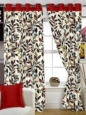 Ivory Printed Polyester Door Curtains (Set Of 2) - By