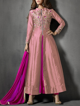 pink pure silk semistitched suit