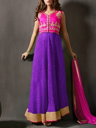multi colored long gown dress material
