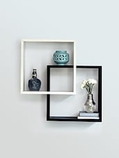 Square Black And White Wooden Wall Shelf - NAVYOU HOME