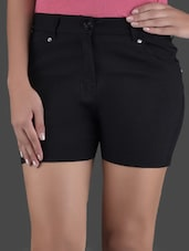 Solid Black Cotton Shorts - LQQKE