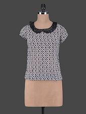 Printed Short Sleeves Georgette Top - Aussehen
