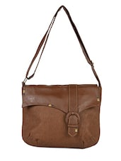 Solid Brown Leatherette Sling Bag - Baggit