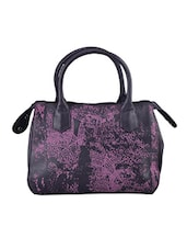Printed Pink And Black Leatherette Handbag - Baggit