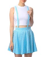 blue cotton flared skirt with suspenders -  online shopping for Skirts
