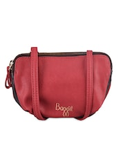 Zippered Leatherette Sling Bag - Baggit