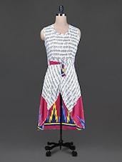 Typography Printed Round Neck Rayon Dress - Scarleti Western Wear