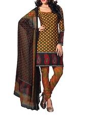 Paisley Border Cotton Unstitched Suit Set - Ethnic Vibe