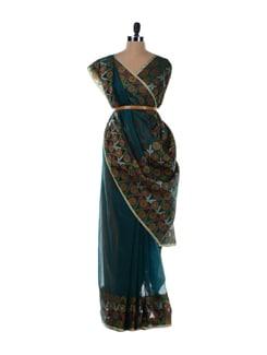 Dark Blue Saree With Floral Border And Pallu - Bunkar