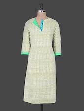 Striped Pale Yellow Cotton Cambric Kurta - Naksh Jaipur