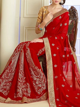 red georgette zari embroidery saree