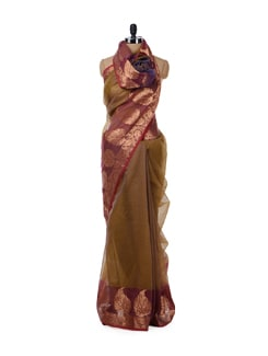 Mustard Brown And Purple Saree - Bunkar
