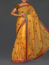 Yellow Floral Embroidered Cotton Net Saree - Finger Cross