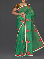 Green Embroidered Cotton Net Saree - Finger Cross